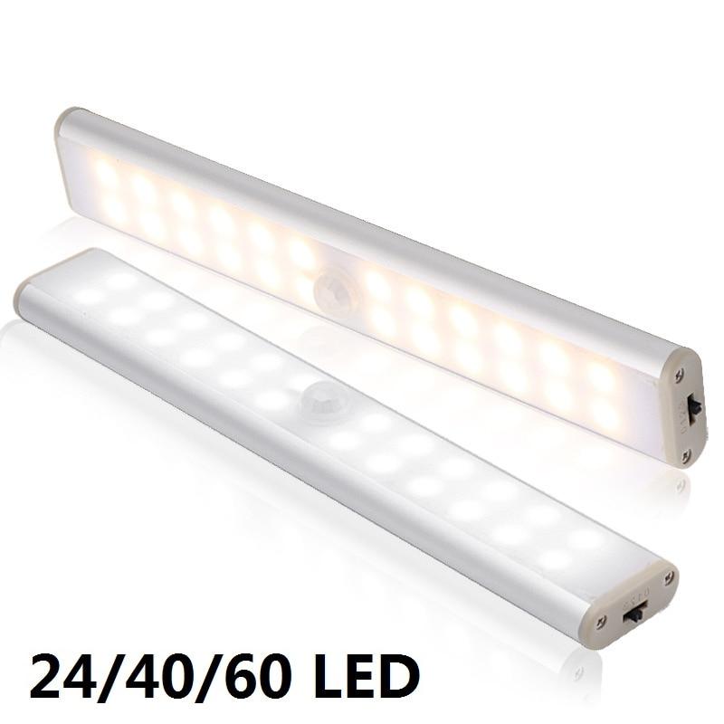 Luz de armario con Sensor de movimiento recargable 6 10 24 40 60 LEDs bajo armario lámpara de noche magnética para armario de cocina escaleras