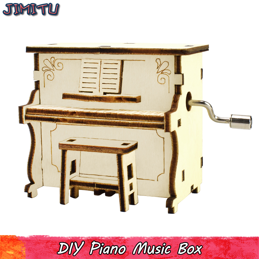 DIY Piano Music Box Model Kits Toys For Children Wooden Hand Shake Music Box Assembly Model Toy Gifts Home Decoration Collection