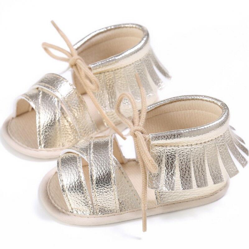 Fashion Newborn Baby Girls Sandals Cute Princess Tassel Sandles Kids Toddler Infant Flat Lovey Lace Up Shoes