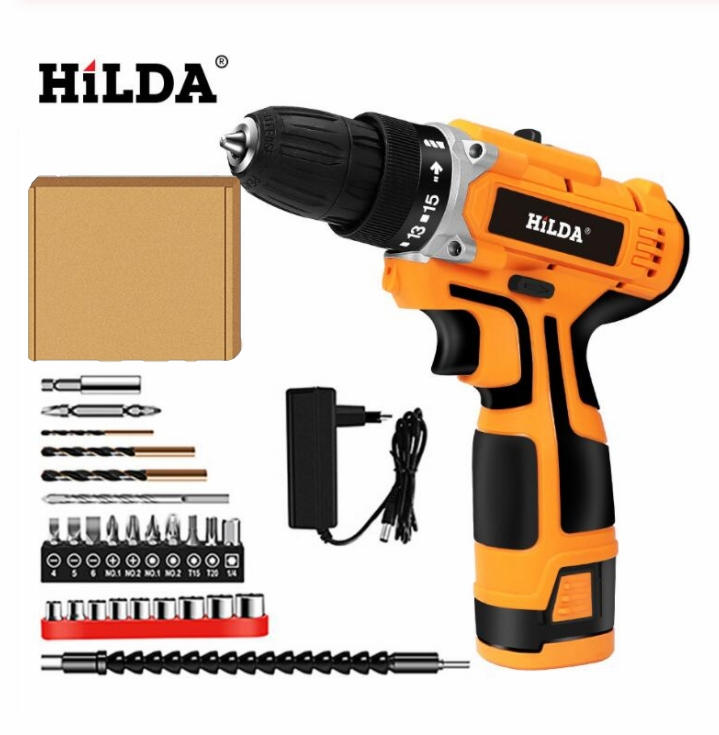 12V Electric Screwdriver Cordless Electric Mini Drill Lithium-Ion Battery  Electric Drill Two-speed Power Tools
