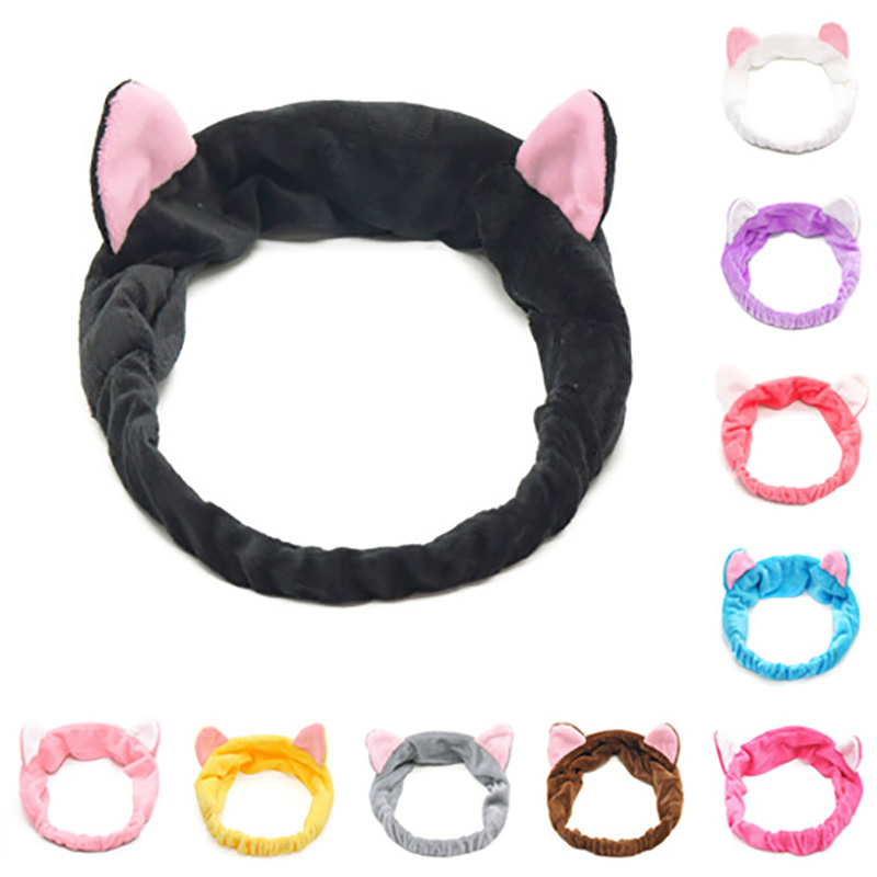 Women   Headwear   Cute Cat Ear Hair Band Wrap Headband Bath Wash Spa Make Up Tool Make-Up Elastic Hair Band