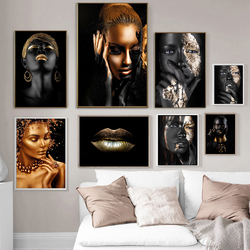 African Art Black and Gold Woman with Necklace on Canvas Painting and Posters Scandinavian Wall Picture Living Room Unstretched