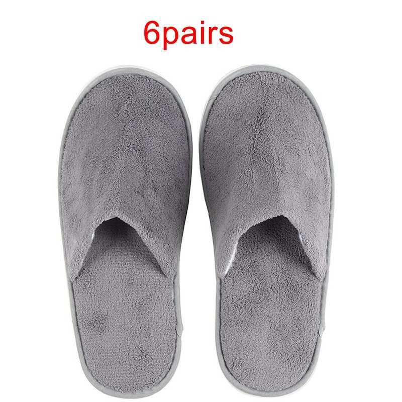 6-Pairs Wegwerp Slippers, Geweldig Voor Hotel, Spa, nail Salon Gebruik-Antislip-Grijs-Past Tot Ons Heren Maat 11 En Ons vrouwen Size
