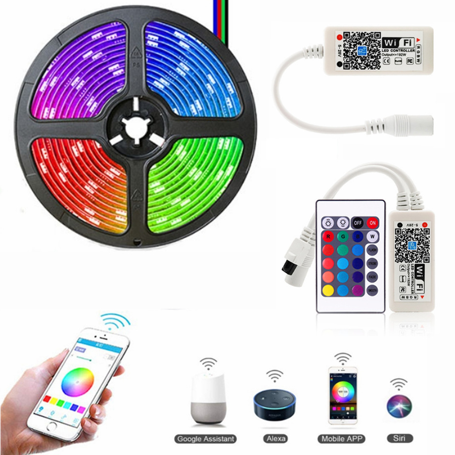 RGB RGBW/WW LED Strip Light Phone Control 5050 SMD Wireless WiFi LED Tape Works With Amazon Alexa Google Home DC 12V +Power