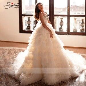 Image 4 - BAZIIINGAAA יוקרה חתונה שמלה סקסי משיי אורגנזה עבה לפרוע כלה חתונת שרוולים חולצת סטרפלס תמיכה תפור