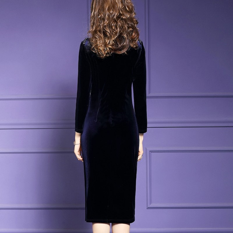 Image 3 - Retro velvet sexy dress 2019 NEW luxury spring Autumn Vintage  Nail bead Party Dress Plus Size Women Clothing winter slim  dressesDresses
