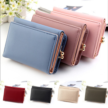 Wallet Women 2020 Lady Short Women Wallets Black Red Color Mini Money Purses Small Fold PU Leather Female Coin Purse Card Holder embroidery star women wallet two fold small pu leather fashion mini female coin purse card holder money bags carteira feminina