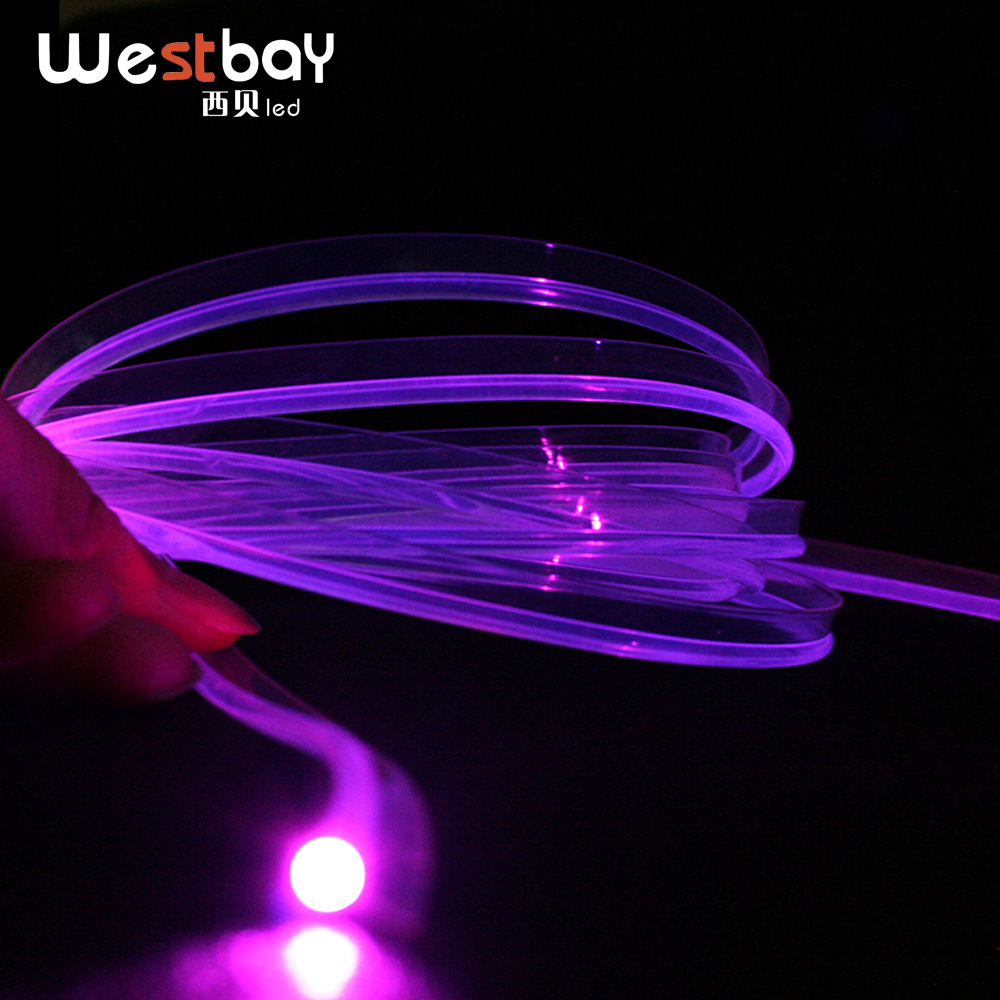 PMMA Skirt Side Fiber Opitc Diameter 3mm 5 Meters Side Glow Plastic Optical Fiber Cable For DIY Car Decoration