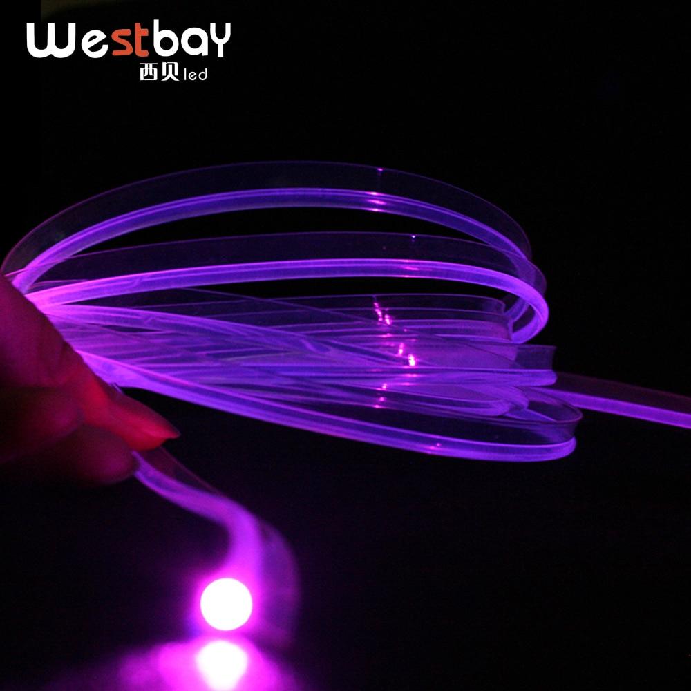 PMMA Skirt Side Fiber Opitc Diameter 3mm 5 Meters Side Glow Plastic Optical Fiber Cable For DIY Car Decoration