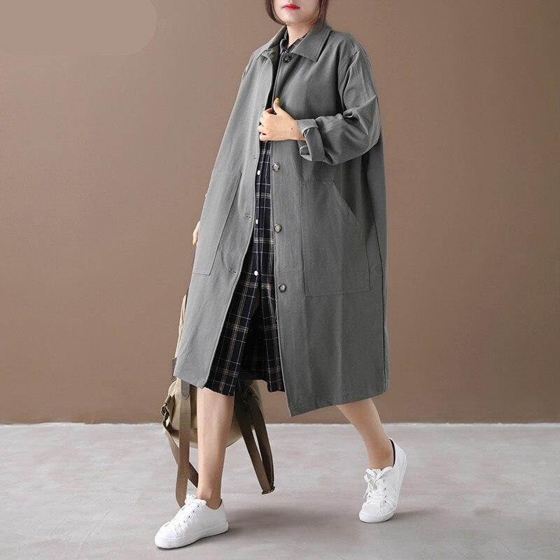 TVVOVVIN Autumn 2019 New Korean Style   Trench   Coat For Women Loose Pluz Size Single-breasted Windbreaker Female C850