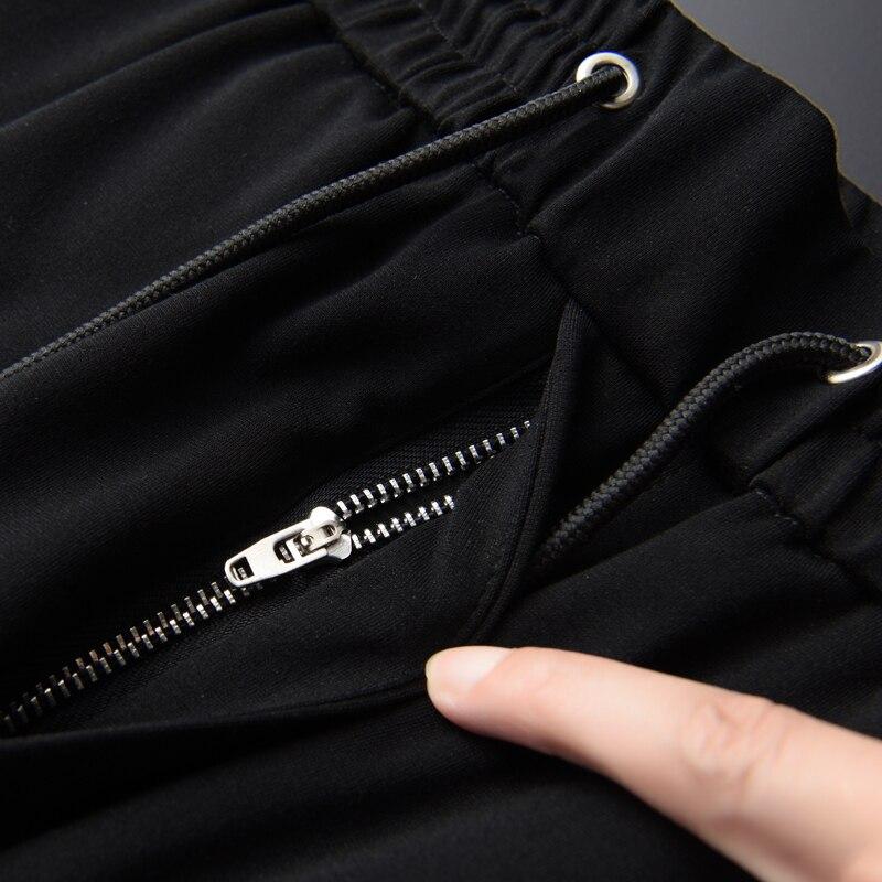 Летние мужские комплекты (футболки + брюки), высокая плотность, вышитые с коротким рукавом, мужские комплекты размера плюс 3XL 4XL, мужские комплекты со штанами - 6