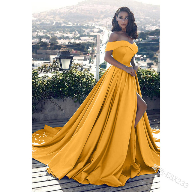 Fashion Elegant Boat Neck Evening Dresses for Women Party Classy Night Lady Sexy Off The Shoulder Slit Ball Gown Prom Vestidos 5