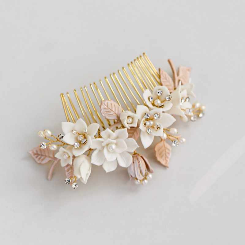 Delicate Wedding Jewelry Gold Leaf Bridal Hair Comb Porcelain Flower Women Headpiece Hair Accessories