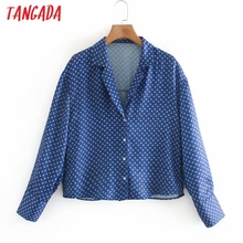 Tangada Women Oversized Flowers Print Crop Shirt Long Sleeve 2021 Chic Female Short Blouse Shirt Tops XN162