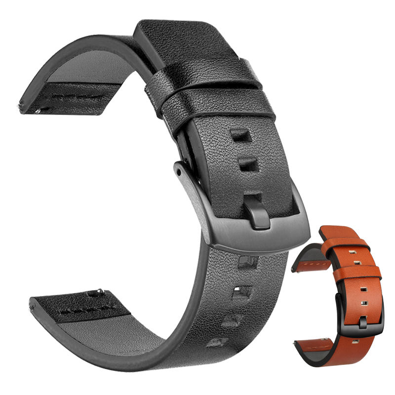 20mm 22mm Genuine <font><b>Leather</b></font> Strap for <font><b>Samsung</b></font> Galaxy Watch 42 <font><b>46mm</b></font> Gear S3 Watch band Sport WatchBand Quick Release 18 24mm image