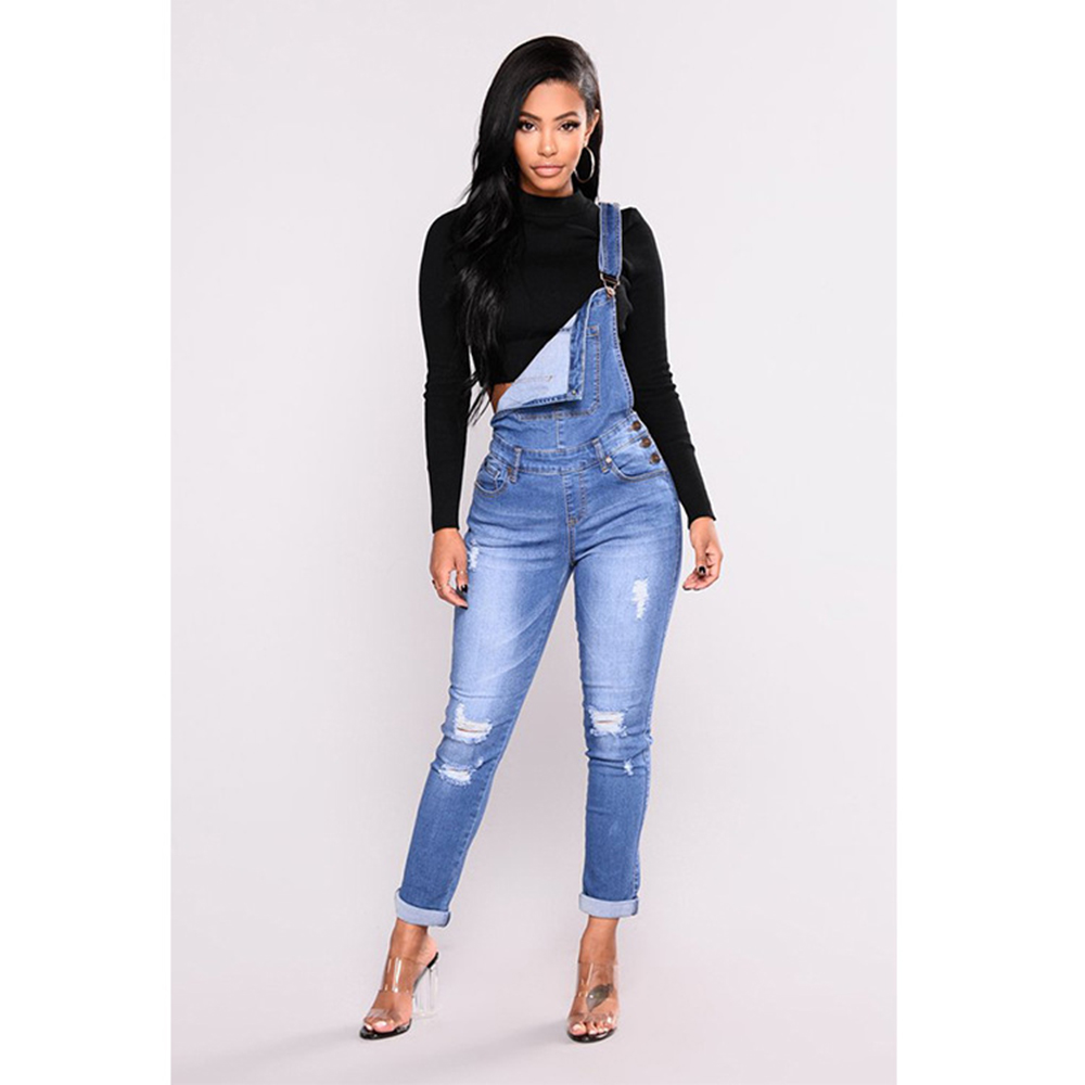 Cross-border eBay wish hot selling   jeans   suspender pants women's with holes slimming skinny   jeans   Women's