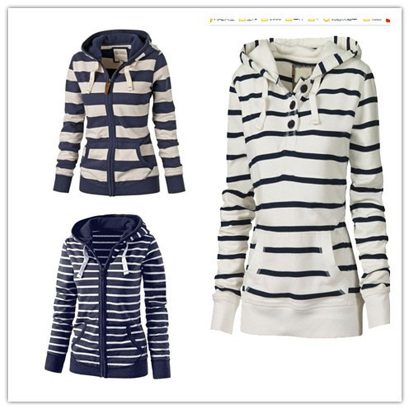 Women's European And American-Style Autumn And Winter Hot Selling Hooded Plus-sized Long-Sleeve Striped Hoodie