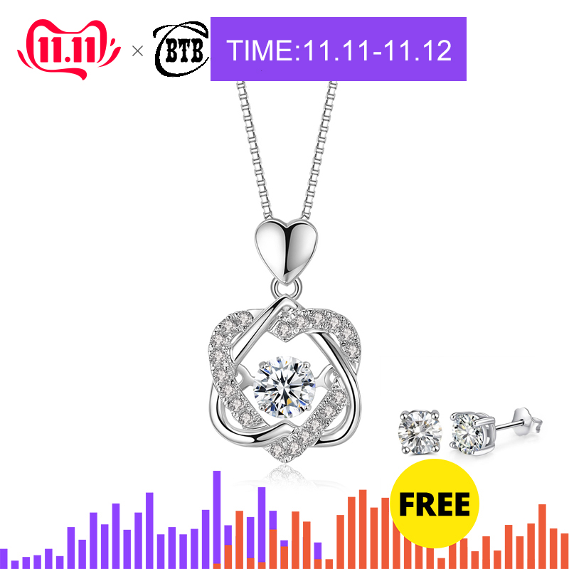 Fashion Romantic Double Heart Flower Pendant Necklace with Zircon Rose Gold/Silver Color Necklace For Women Jewelry