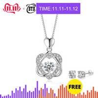 Mode romantique Double coeur fleur pendentif collier avec Zircon Rose or/argent couleur collier pour femmes bijoux