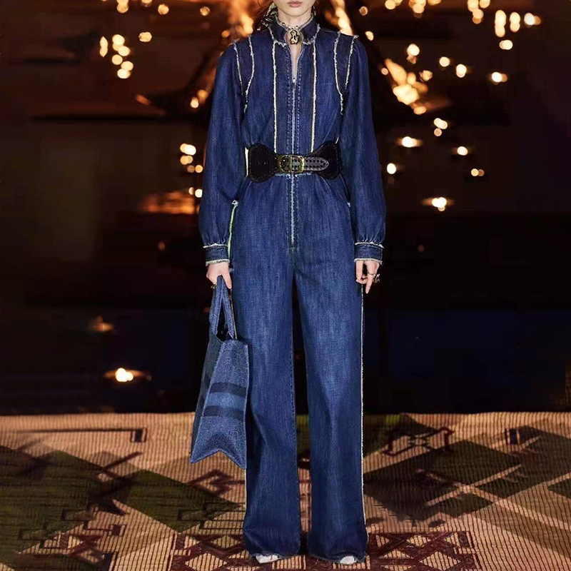 Wide Leg Denim Jumpsuit Women Fashon Spring Solid Elegant Full Length Office Runawy Playsuits Long Pants Overalls Lady Clothing - 2