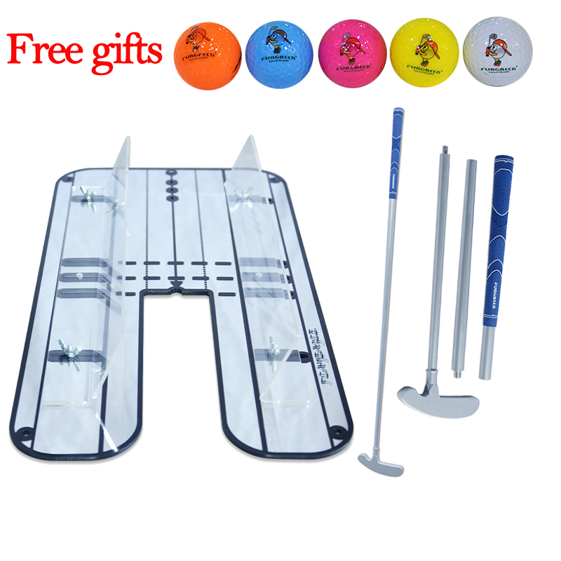 PLAYEAGLE Golf Swing Straight Practice Golf Putting Mirror Alignment Training Aid Swing Trainer With Free Golf Balls Gift