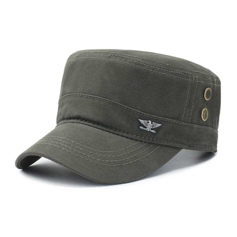 XdanqinX Adult Men's Men's Flat Cap Fashion Cotton Military Hats Adjustable Casual Flat Roof Trucker Hats Snapback Cap Dad Hat