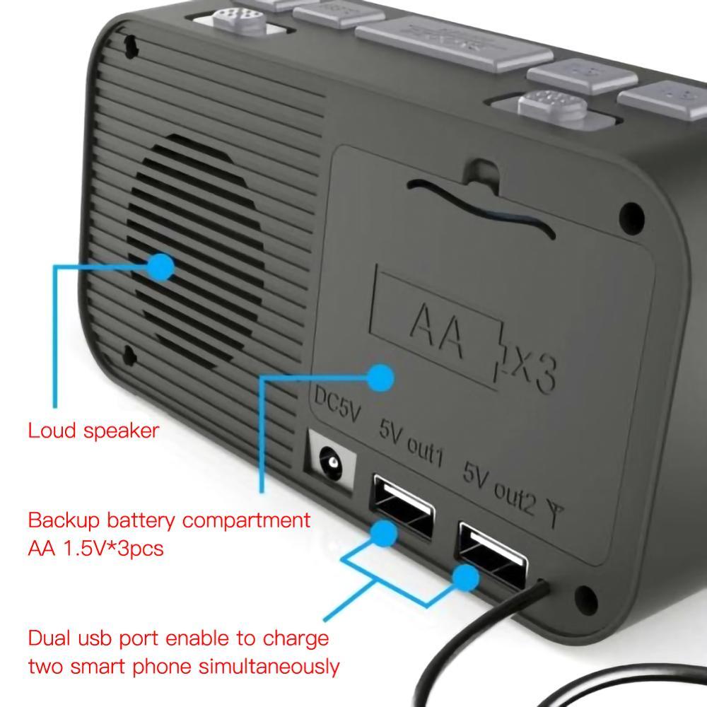 alarm clock FM Clock Radio For Car LED Alarm Clock+ FM Radio+Wireless bluetooth Speaker+2 USB Charger Dual Alarm Setting Car Radio (5)
