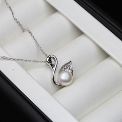 Fashion 925 Silver Pendant Dolphin Women,White Real Natural Freshwater Pearl Necklace Engagement Gift