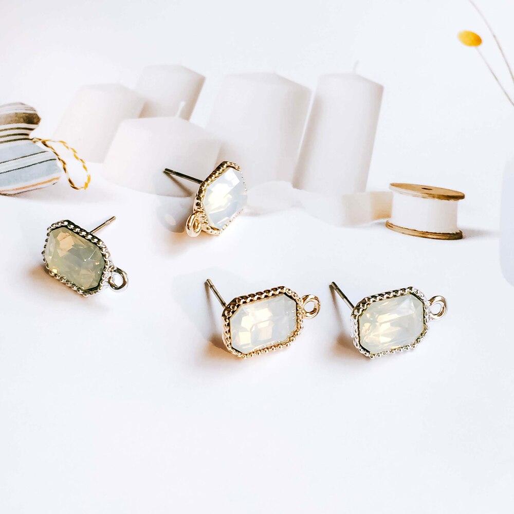 6 шт., серьги-гвоздики с покрытием из белого золота