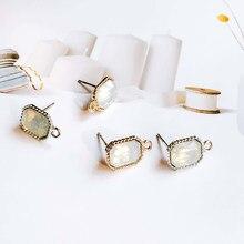 Zeroup strass branco k ouro cor chapeado brincos de orelha para feminino menina jóias componente diy material feito à mão 6 pçs
