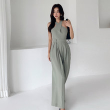New Women Jumpsuits Sexy Backless Rompers Female Solid Wide Leg Office Lady