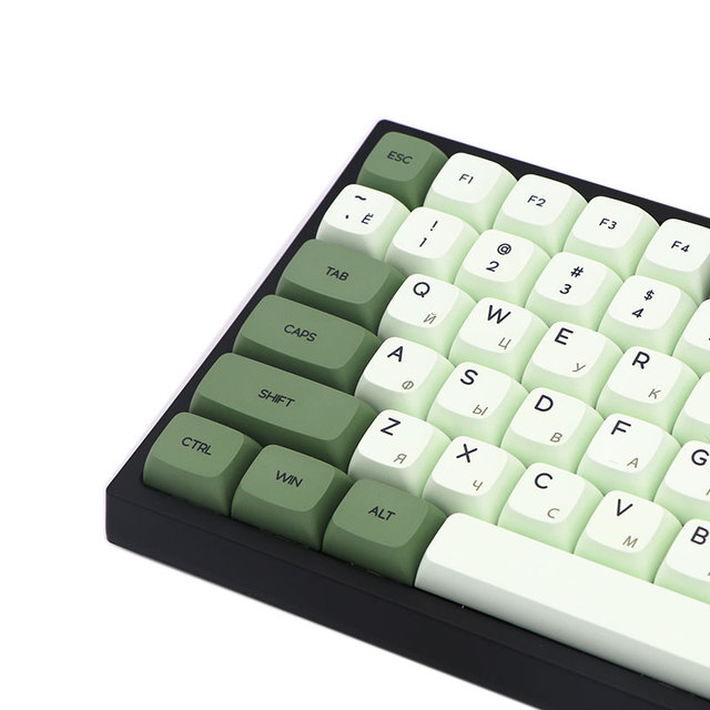 Keypro Matcha Green Ethermal Dye Sublimation fonts PBT keycap For Wired USB mechanical keyboard 124 keycaps