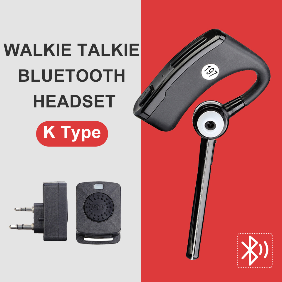 Wireless Bluetooth Headphones Headset Walkie Talkie  With Wireless Finger PTT And Bluetooth Adapter For Kenwood Two-way Radio