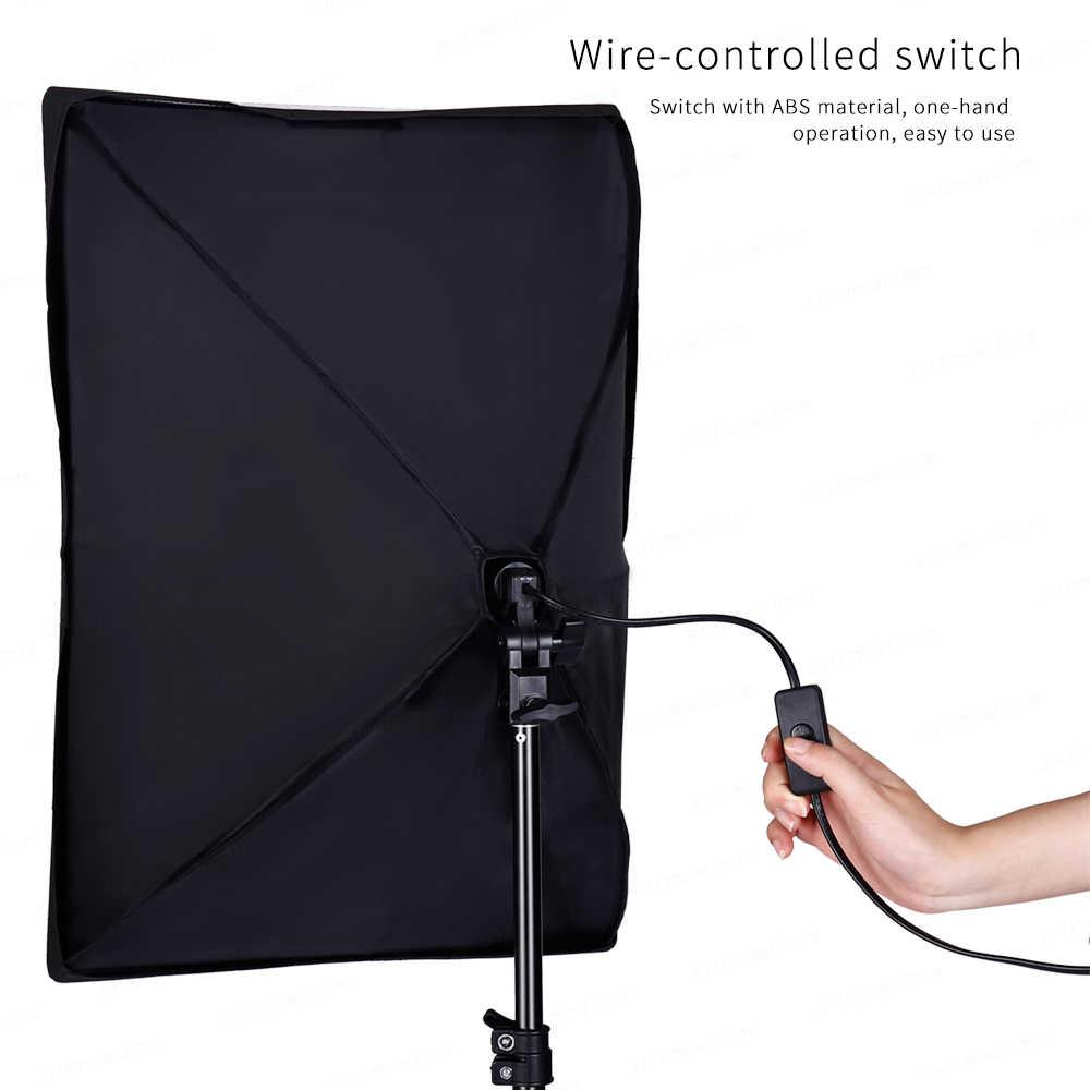 写真の長方形ソフトボックス照明キット 50 × 70 センチメートルプロ連続光システムのためのフォトスタジオ機器