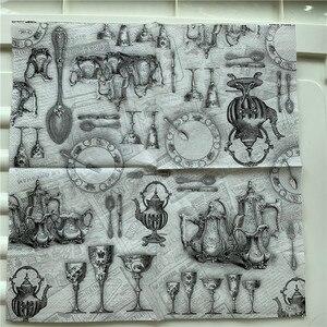 Image 3 - Decoupage serwetki papierowe elegancki tkanki w stylu vintage ręcznik czarny szary pałac z dzbankiem do herbaty i filiżankami urodziny wesele strona główna piękny wystrój