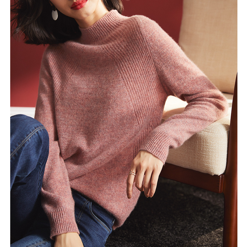 Women's Turtleneck Cashmere Sweaters Pullover Long Sleeve Plus Size Slim Female Pink Knitwear 2020 Autumn Winter Free Shipping
