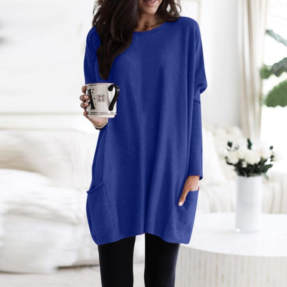Womens Solid Warm Long Sleeve Sweatshirt Loose Pocket Daily Pullover Tops #4O08 (59)