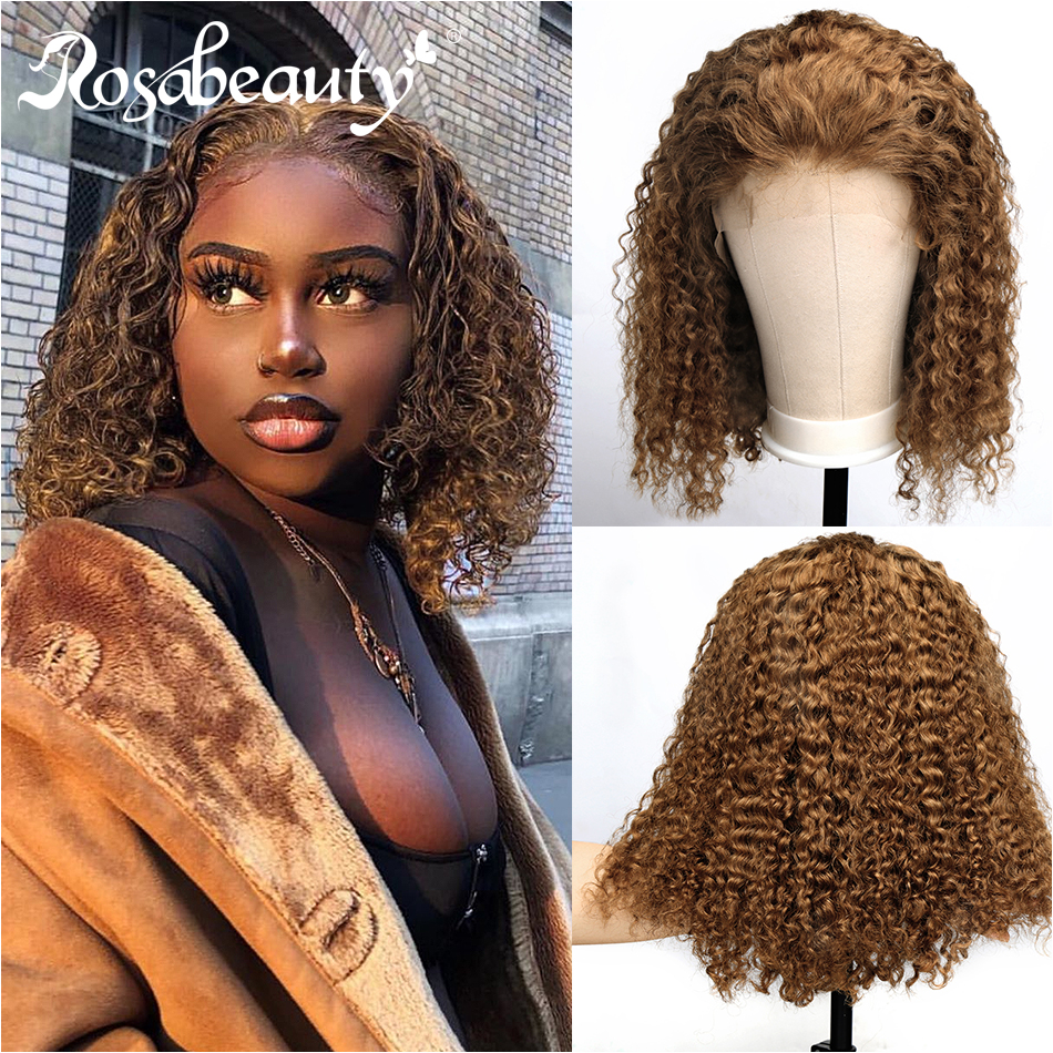 Rosabeauty #27 Ombre Color Short Curly Lace Front Human Hair Wigs With Baby Hair Pre Plucked Remy Brazilian Bob Wigs