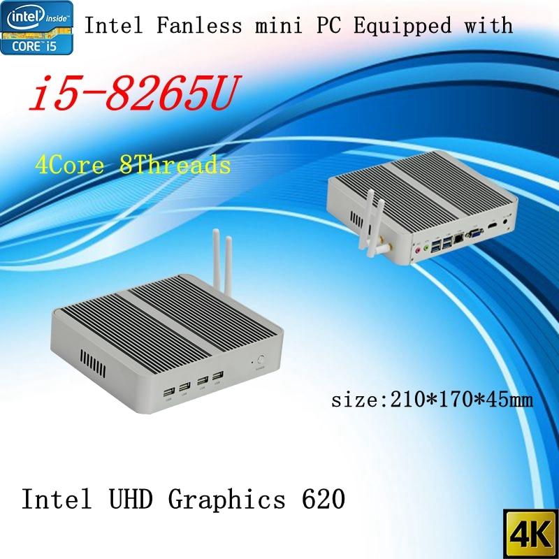Newest Kaby Lake R 8Gen Fanless Mini Pc I5 8265u Intel UHD 620 Win10 Quad Core 8 Threads DDR4 2400 2666 NUC