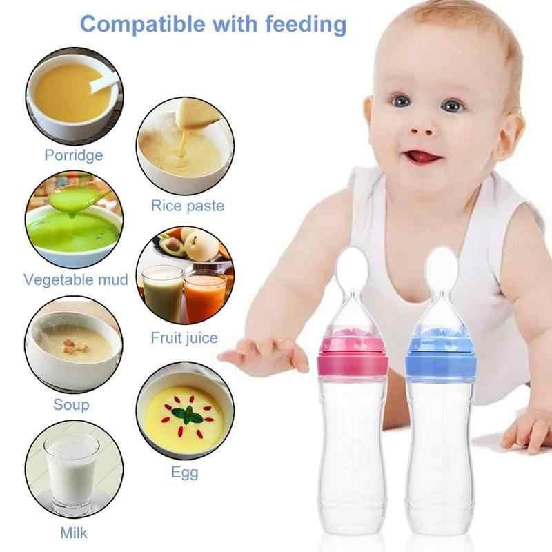 ทารกความปลอดภัยขวดนมเด็กช้อนข้าววางซิลิโคนการฝึกอบรม Feeder ลิ้นกดให้อาหารช้อน