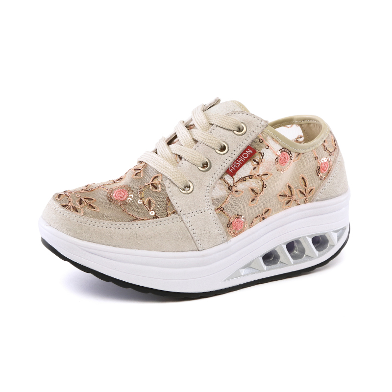 Women's Fitness Toning Shoes Breathable Ladies Flat Platforms Sneakers Beige Black Women Travel Walking Wedges Shoes