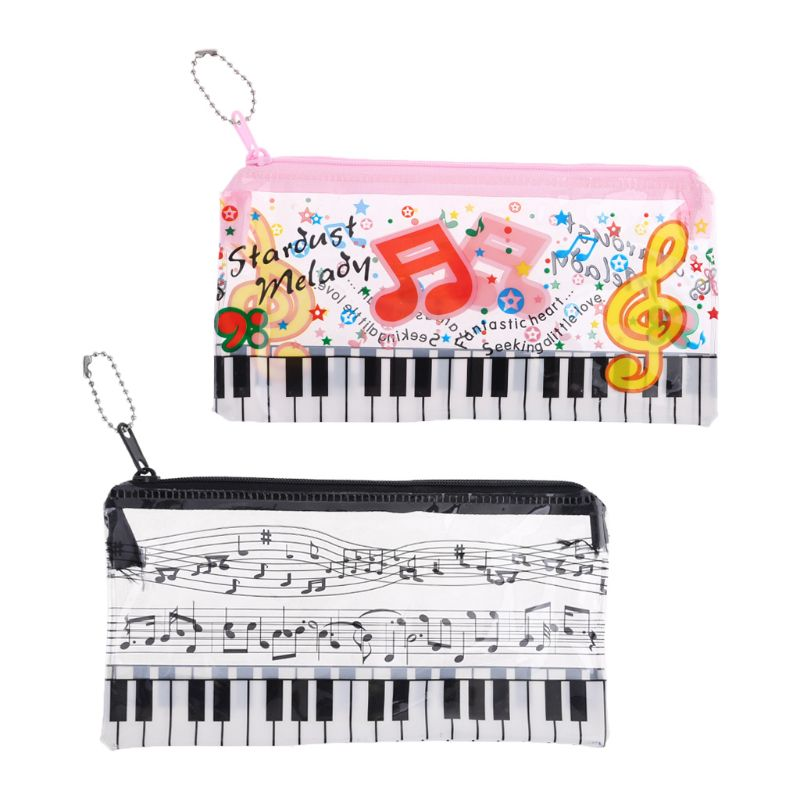 Music Note Piano Keyboard Pencil Case Plastic Transparent Pen Bag Student Gift