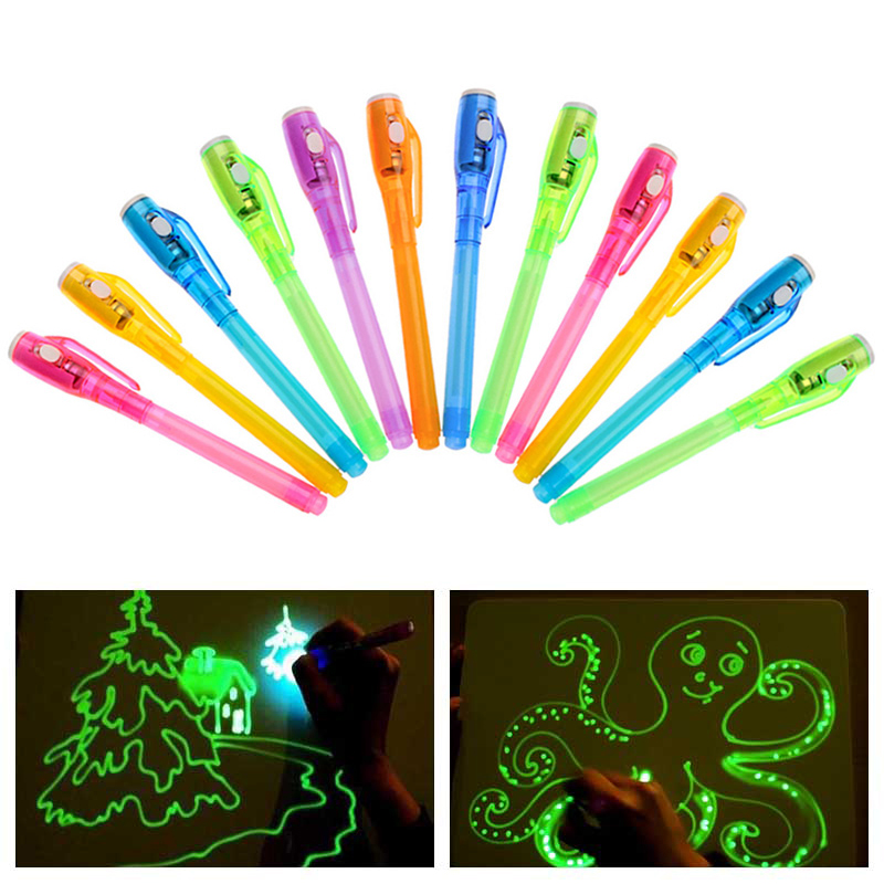 Magic Pen Draw With Light Child 2 In 1 UV Creative Invisible Check Money Painting Tools Drawing Educational Toys Gifts For Kids