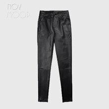 Americano estilo de encaixe feminino inverno preto médio cintura pele carneiro couro genuíno estiramento lápis calças pantalon femme lt2972
