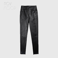 Pantalon pour femmes, style américain, en cuir véritable, taille moyenne, noir, hiver, crayon, stretch, LT2972