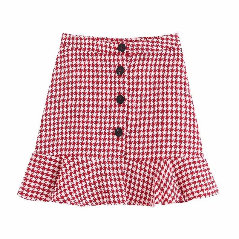Stylish Chic Women Set Single Breasted Red Houndstooth Plaid Ruffles Skirt Button Pockets Jacket Set Za Fashion Suit