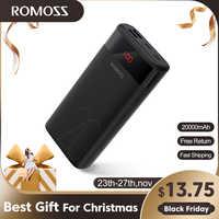 ROMOSS-batería externa para teléfonos y tabletas, Cargador USB de 20 20000mAh, 5V 2.1A, con pantalla LED