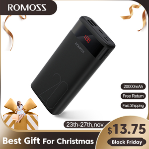 ROMOSS Ares 20 20000mAh Power Bank USB Type Portable Charger External Battery 5V 2.1A With LED Display For Phones Tablet