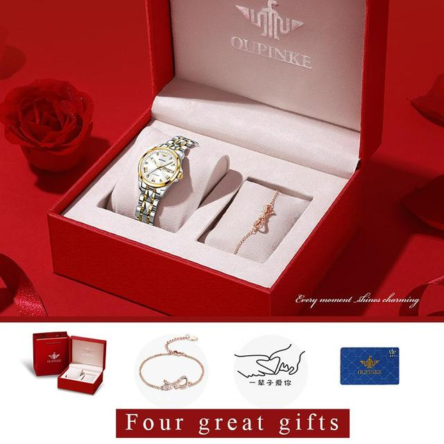 OUPINKE Top Luxury Women Wristwatch Automatic Mechanical Waterproof Watch Sapphire Mirror Tungsten Steel Watchstrap Lady Watches 6