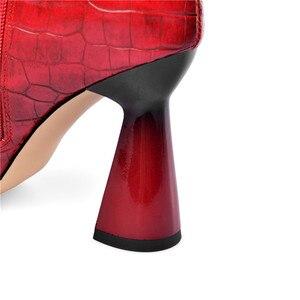 Image 4 - MORAZORA 2020 למעלה איכות נשים מגפי קרסול הבוהן מחודדת סתיו חורף צ לסי קצר מגפי עקבים גבוהים מסיבת חתונה נעלי אישה